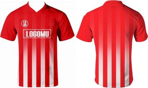 Jersey Printing Garis Strip Merah Putih